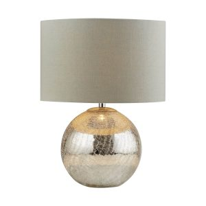 Searchlight DAZZLE TABLE LAMP CRACKED MIRROR EFFECT BASE GREY SHADE 1065 01