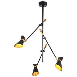 Searchlight DIABLO 3 LIGHT LED CEILING MATT BLACK AND GOLD 5943 3BG 01 1