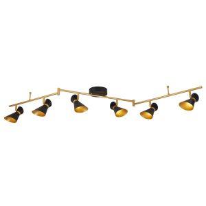 Searchlight DIABLO 6 LIGHT LED SPOTLIGHT SPLIT BAR MATT BLACK AND GOLD 5926BG 01