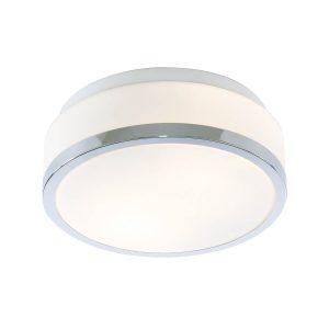 Searchlight DISCS BATHROOM IP44 2 LIGHT FLUSH OPAL WHITE GLASS SHADE WITH CHROME TRIM DIA 23CM 7039 23CC 01 1