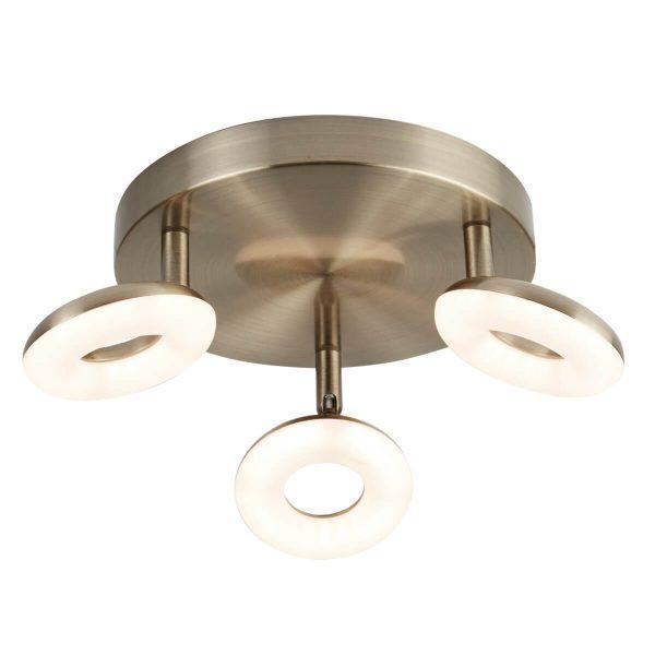Searchlight DONUT 3 LIGHT LED SPOT LIGHT ANTIQUE BRASS 8903AB 01