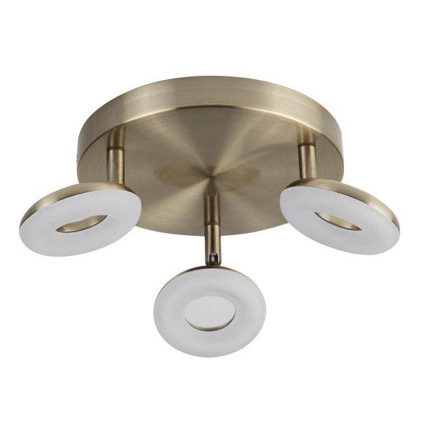 Searchlight DONUT 3 LIGHT LED SPOT LIGHT ANTIQUE BRASS 8903AB 02