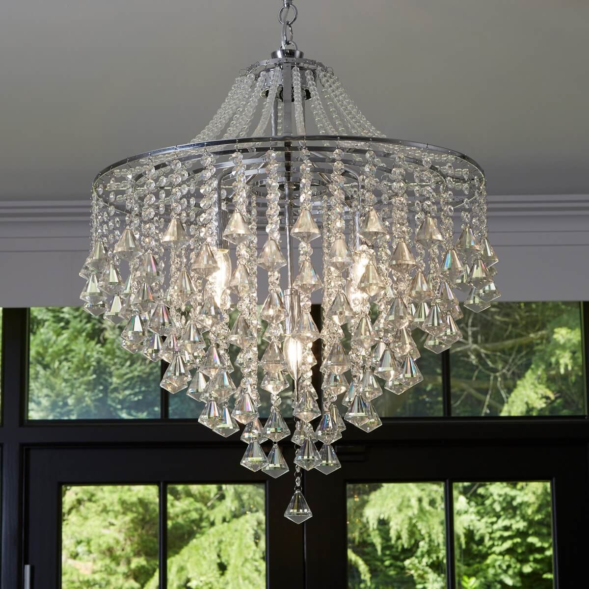 Dorchester 5 Light Ceiling Chrome With Clear Crystal