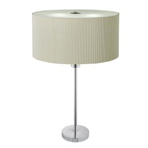 Searchlight DRUM PLEAT 2 LIGHT TABLE LAMP CREAM PLEATED SHADE FROSTED GLASS DIFFUSER 4562 2CR 01