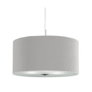 Searchlight DRUM PLEAT PENDANT 3 LIGHT PLEATED SHADE PENDANT SILVER WITH FROSTED GLASS DIFFUSER DIA 40 2353 40SI 01 1