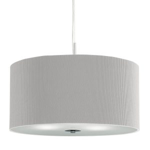 Searchlight DRUM PLEAT PENDANT 3 LIGHT PLEATED SHADE PENDANT SILVER WITH FROSTED GLASS DIFFUSER DIA 60 2356 60SI 01 1