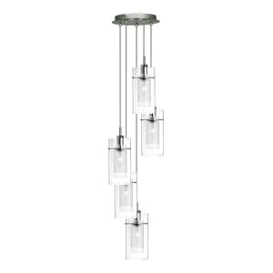 Searchlight DUO I SATIN SILVER DOUBLE GLASS 5 LIGHT PENDANT 2305 5 01 1
