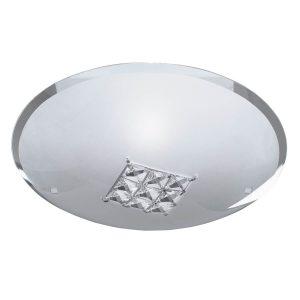 Searchlight FLUSH 1 LIGHT CEILING DIA 32cm SANDED GLASS CLEAR CRYSTAL 2198 32 01 1