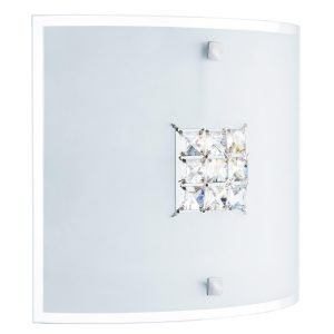 Searchlight FLUSH 2 LIGHT CEILING SQUARE SANDED GLASS CLEAR CRYSTAL 2150 30 01 1