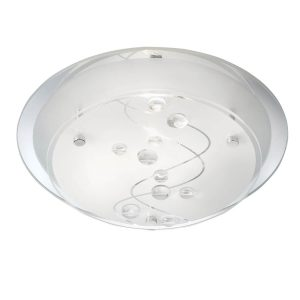 Searchlight FLUSH 25CM ROUND 1 LIGHT CLEAR BEADS ON GLASS 3020 25CC 01 1