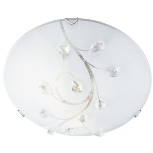 Searchlight FLUSH 30cm ROUND GLASS WITH CRYSTALS 2140 30 01 1