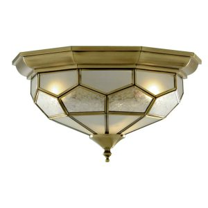 Searchlight FLUSH ANTIQUE BRASS LEADED CEILING FITTING 29cm 1243 12 01 1