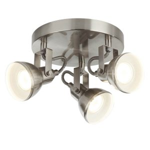 Searchlight FOCUS 3 LIGHT SATIN SILVER INDUSTRIAL SPOTLIGHT DISC 1543SS 01