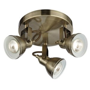 Searchlight FOCUS 3 LIGHT SPOTLIGHT DISC ANTIQUE BRASS 1543AB 01