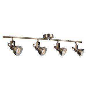 Searchlight FOCUS 4 LIGHT SPOTLIGHT SPLIT BAR ANTIQUE BRASS 1544AB 01