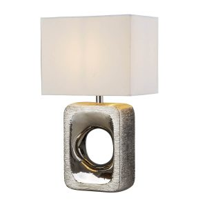 Searchlight GRANGE TABLE LAMP SILVER ETCHED BASE WHITE SHADE 1024CC 01