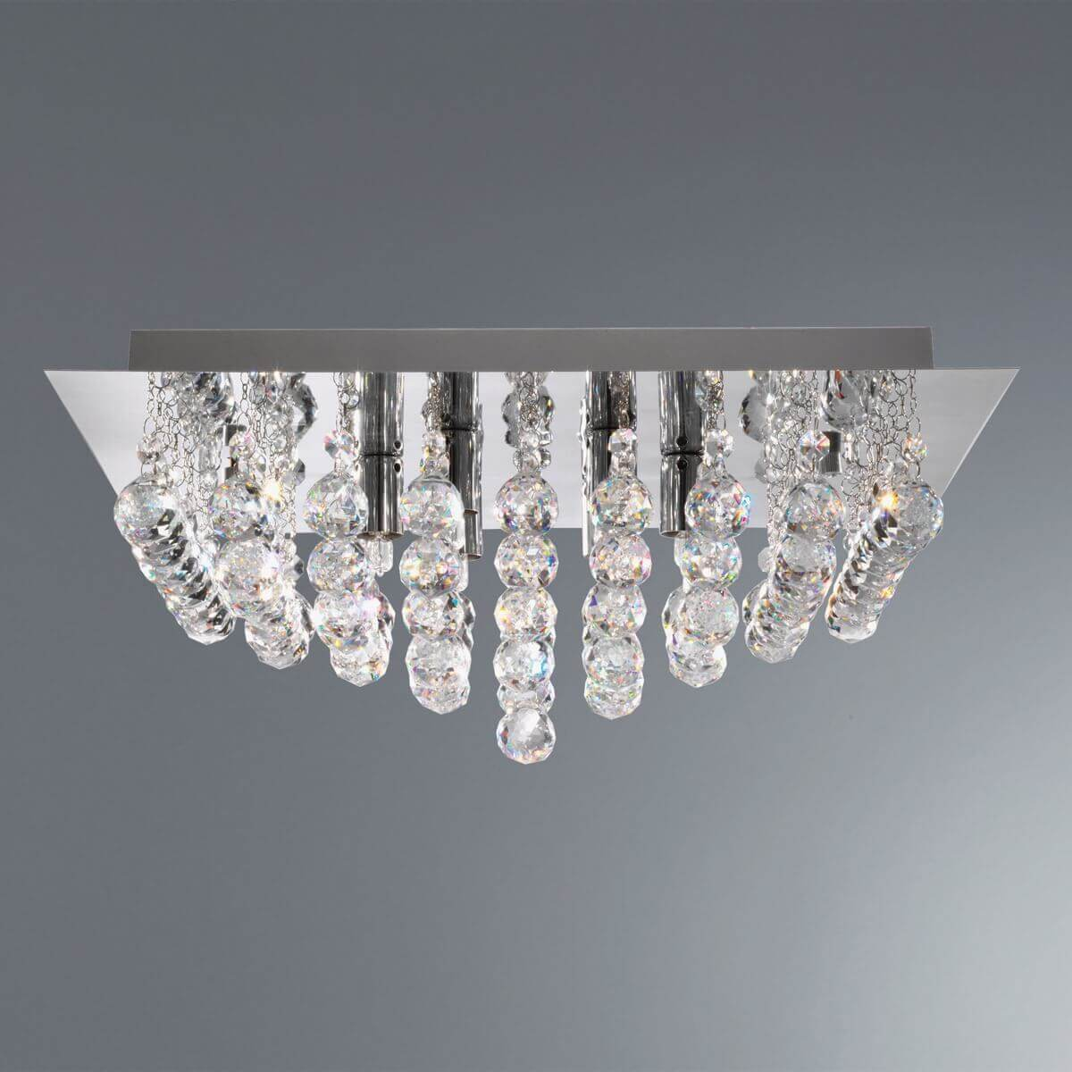 Searchlight Hanna 8 Lights Gold Crystal Ball Flush Ceiling Fitting Chandelier