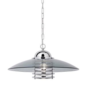 Searchlight HATTIE PENDANT 1 LIGHT CHROME COOLIE PENDANT WITH SMOKEY GLASS SHADE 1300CC 01 1