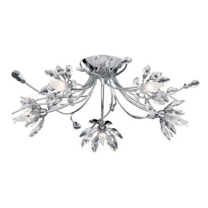 Searchlight HIBISCUS 5 LIGHT FLUSH CEILING CHROME CLEAR GLASS 2885 5CC 01 1