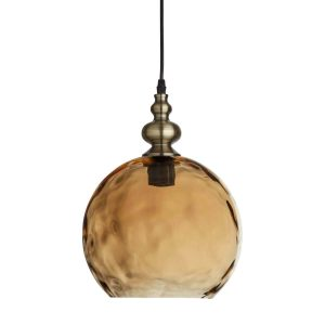 Searchlight INDIANA 1 LIGHT PENDANT ANTIQUE BRASS AMBER GLASS 2020AM 01 1