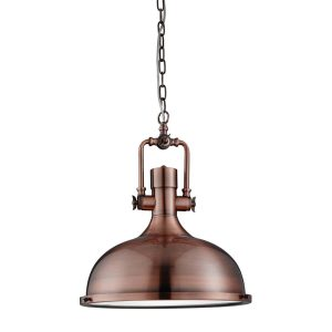Searchlight INDUSTRIAL PENDANT 1 LIGHT PENDANT ANTIQUE COPPER FROSTED GLASS 1322CU 01 1