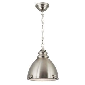 Searchlight INDUSTRIAL PENDANT 1 LIGHT SATIN NICKEL DOME WITH FROSTED GLASS DIFFUSER 1294SS 01 1