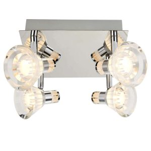 Searchlight IP44 DIMMABLE 4 LIGHT LED SPOTS SQUARE PLATE CHROME CLEAR ACRYLIC SHADE 7474CC 01