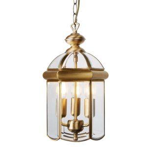 Searchlight LANTERN ANTIQUE BRASS BEVELLED GLASS DOMED 3 LIGHT 7133AB 01 1