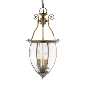 Searchlight LANTERN BOWED BEVELLED GLASS 3 LIGHT ANTIQUE BRASS 9501 3 01 1