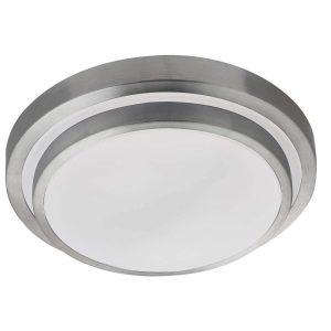 Searchlight LED BATHROOM IP44 2 TIER FLUSH ALUMINIUM TRIM WHITE SHADE 7402 34 01 1