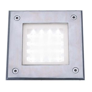 Searchlight LED RECESSED INDOOR OUTDOOR WALKOVER SQUARE STAINLESS STEEL WHITE LED 9909WH 01