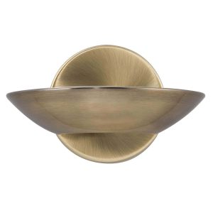 Searchlight LED UPLIGHT WALL BRACKET ANTIQUE BRASS FROSTED GLASS 3209AB 01