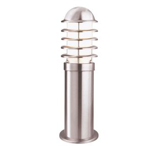 Searchlight LOUVRE OUTDOOR 1 LIGHT POST HEIGHT 45cm STAINLESS STEEL WHITE SHADE 052 450 01