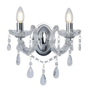 Searchlight MARIE THERESE 2 LIGHT WALL BRACKET CHROME CLEAR CRYSTAL GLASS 399 2 01 1