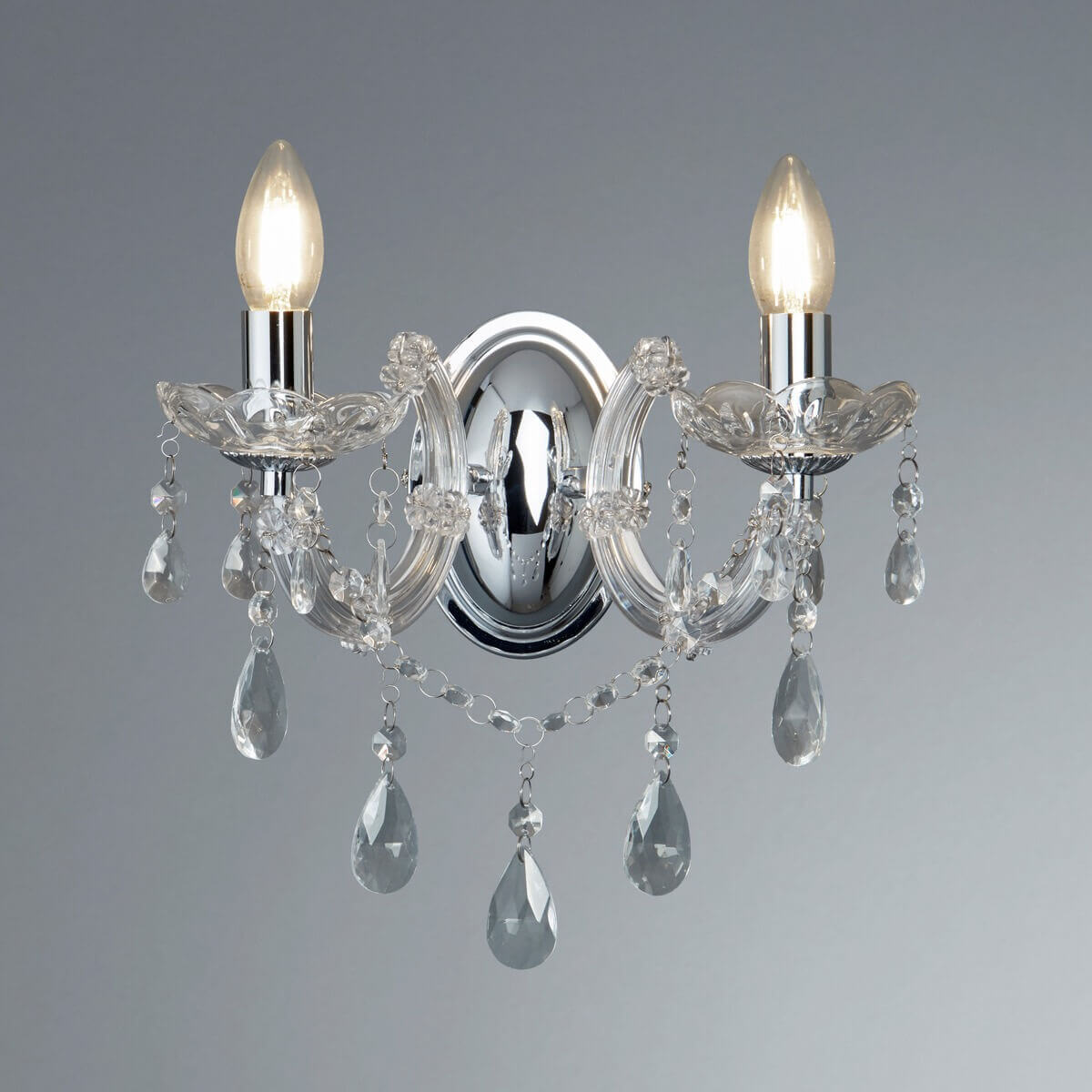 2 Light Marie Therese Crystal Chrome Wall Bracket