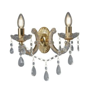 Searchlight MARIE THERESE 2 LIGHT WALL BRACKET POLISHED BRASS CLEAR CRYSTAL GLASS 699 2 01 1