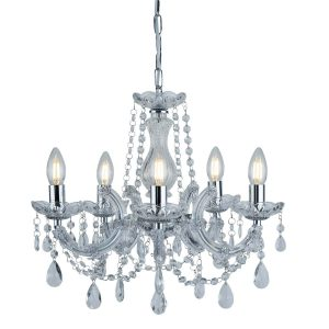 Searchlight MARIE THERESE 5 LIGHT CEILING CHROME CLEAR CRYSTAL GLASS 399 5 01 1