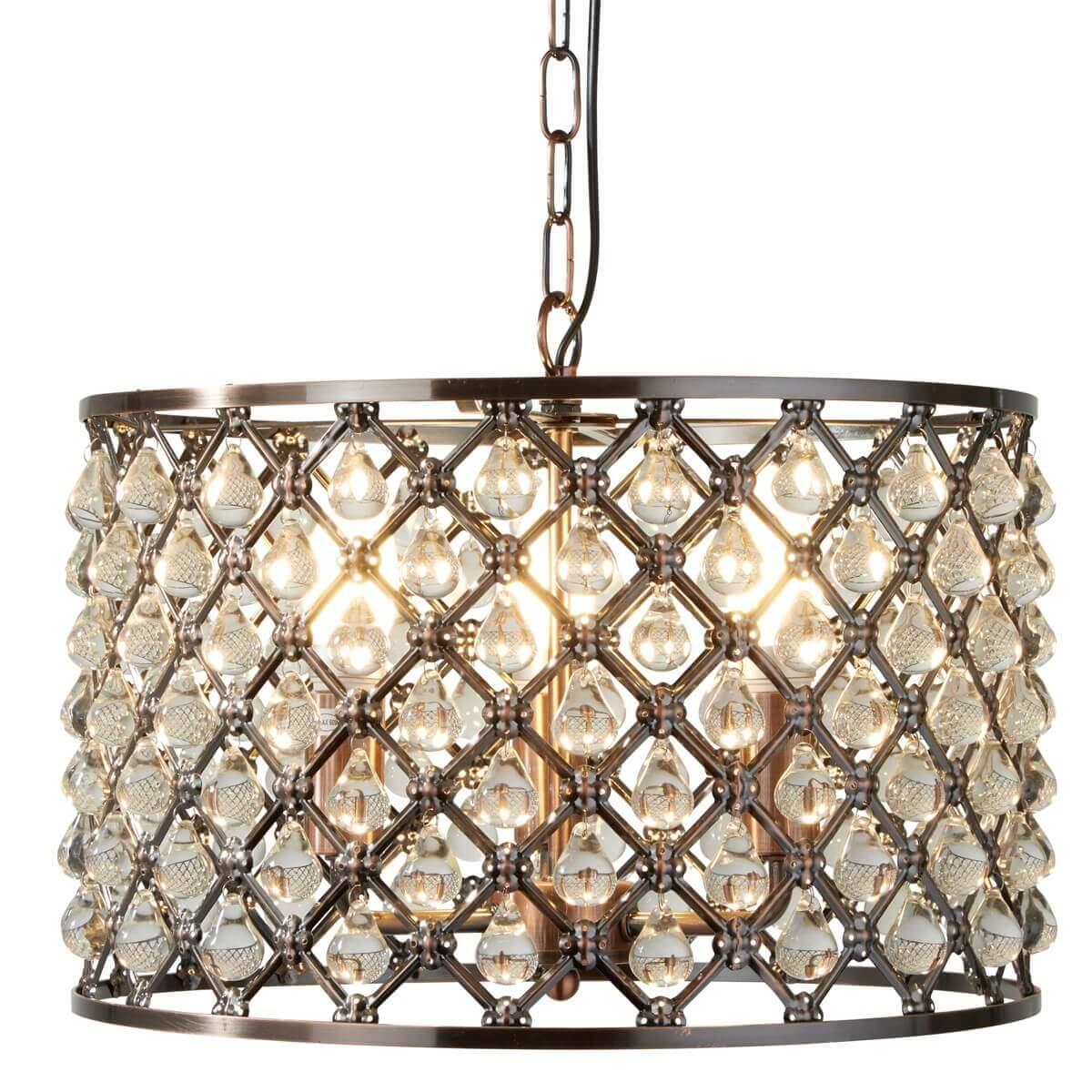 Marquise 3 Light Drum Pendant Antique Copper Glass Tear