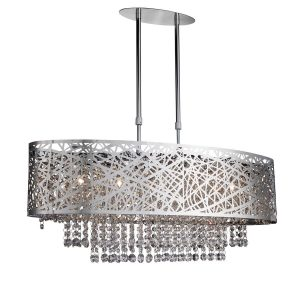 Searchlight MICA 5 LIGHT OVAL SEMI FLUSH CEILING CHROME CLEAR CRYSTAL BUTTON DROPS 3055 5CC 01