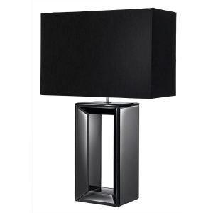 Searchlight MIRROR TABLE LAMP TALL BLACK MIRROR FAUX SILK SHADE 1610BK 01