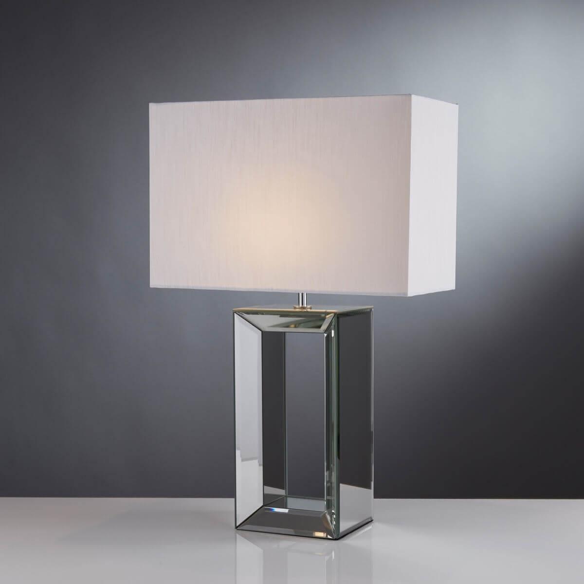 Mirror Table Lamp Tall Mirror White Faux Silk Shade