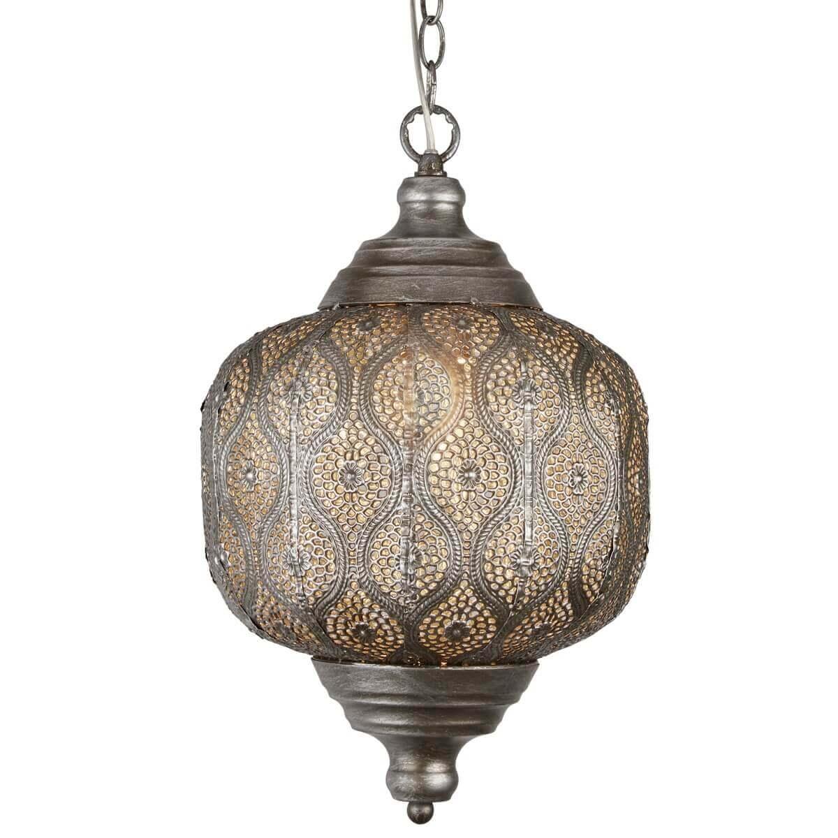 Moroccan 1 Light Pendant Antique Silver Ledlam Lighting