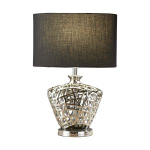 Searchlight NETWORK TABLE LAMP CHROME CUT OUT DECORATIVE BASE WITH BLACK OVAL DRUM SHADE 4552CC 01