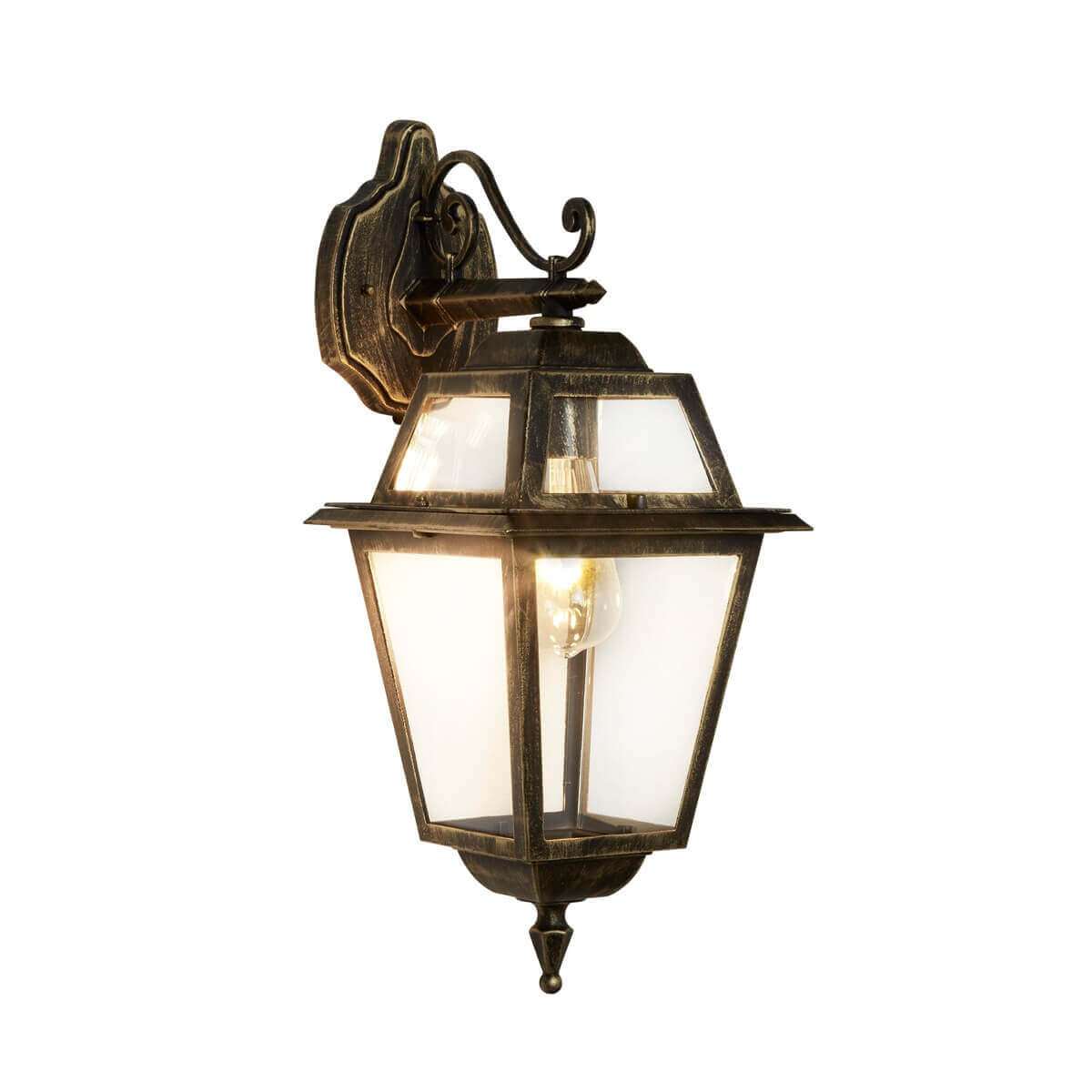 New Orleans 1 Light Outdoor Down Wall Bracket Black Gold Clear Gl