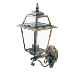 Searchlight NEW ORLEANS 1 LIGHT OUTDOOR UP LIGHT WALL BRACKET BLACK GOLD CLEAR GLASS 1521 01
