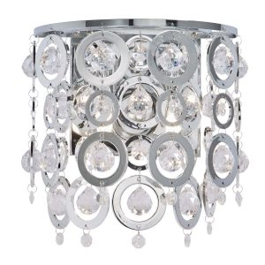 Searchlight NOVA 2 LIGHT WALL BRACKET CHROME CLEAR ACRYLIC BALLS CHROME ACRYLIC RINGS 0572 2CC 01