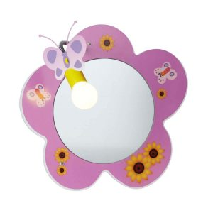 Searchlight NOVELTY CHILDRENS FLOWER MIRROR WALL LIGHT PINK 0124PI 01