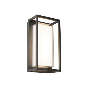 Searchlight OHIO OUTDOOR LED RECTANGLE DARK GREY OPAL WHITE CLEAR DIFFUSER WALL BRACKET FLUSH 3831GY 01 1