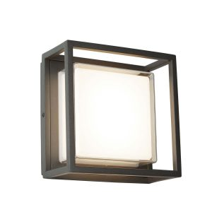 Searchlight OHIO OUTDOOR LED SQUARE DARK GREY OPAL WHITE CLEAR DIFFUSER WALL BRACKET FLUSH 3812GY 01 1