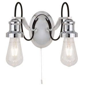 Searchlight OLIVIA 2 LIGHT CEILING BLACK BRAIDED FABRIC CABLE CHROME 1062 2CC 01
